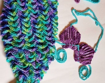 Mermaid tail with shell bikini and starfish headband