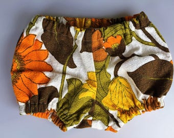 Baby bloomers/nappy cover- Authentic vintage barkcloth Size 00