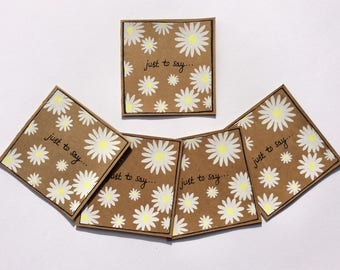 Daisy Design Kraft Mini Note Cards With Envelopes (set of 5). Hand Screen Printed. Blank For Your Own Message.