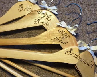 Wedding day personalised engraved wooden hangers