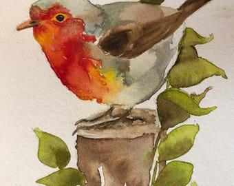 bird: 4x5 inch watercolor sketch painting
