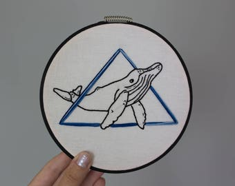 Geometric Whale Embroidery Hoop Art, Geometric Decor, Wall Hanging, Handmade Whale, Simplistic Decor