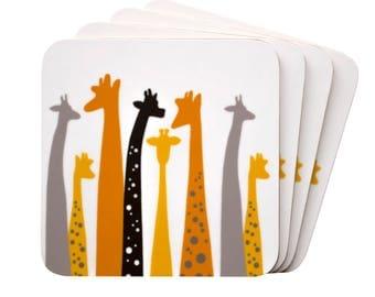 Drink coasters, giraffe gift, cork coaster, cute coaster, giraffe coaster, animal coaster, gift for her, new home gift, woman gift, giraffe