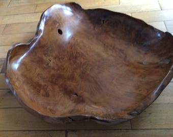 Extremely large carved elm bowl/centre piece.
