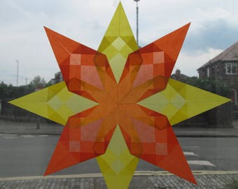 Kite paper window star, yellow and orange