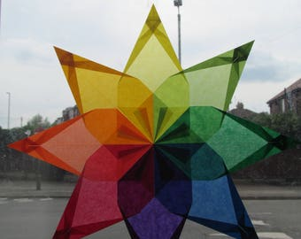 Rainbow kite paper window star