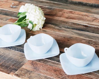 Vintage Fire King Blue Azurite Tea Cup Milk Glass Set (6 pcs) - Outstanding!!!