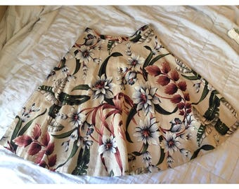 Vintage Beige Floral Circle Skirt/ Size M / Midi Length