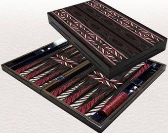 Backgammon set travel foldable family board game set, Yenigun Trandy black design.