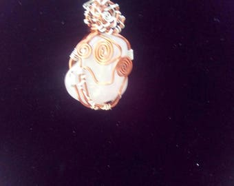 Hand wrapped Rose Quartz pendant with chain