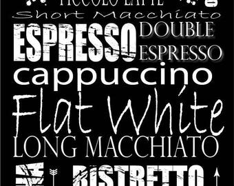 Coffee Sign, Printable Wall Art, Coffee Types, Subway Art, Digital Download