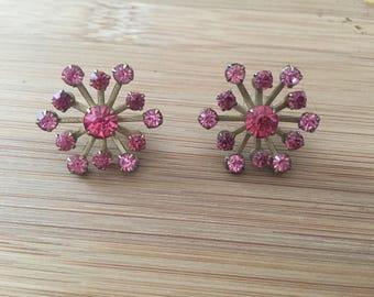 Vintage pink glass star earrings