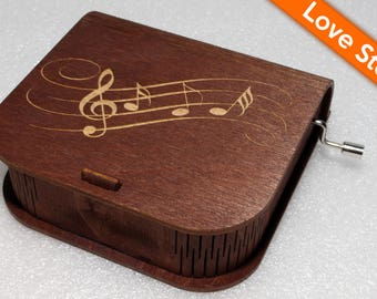 "Engraved Wooden Music Box  ""Love Story"" - Hand Crank Movement"