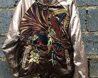 Vintage Sukajan Gumu Phoenix Embroidery Japan Souvenir Jacket Size L
