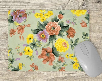 Mouse Pad floral - pink flowers - yellow flowers - Gift for her - girly mousepad green