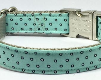 Mint, White, Polka Dot, Adjustable, Dog Collar, High Quality, Metal Buckle, Fabric, Pattern, Classic, Boy Dog Collar, Pet Accessory, Pretty