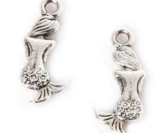 Mermaid Charm Pendant - Set of 3 - 8mm x 20mm - Silver Plated - Jewelry Making