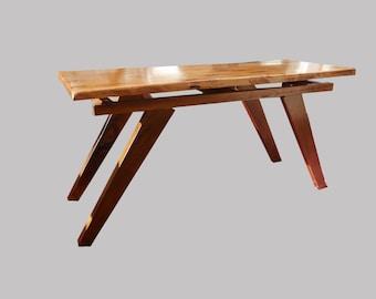 Modern reclaimed oak and black walnut floating coffee table