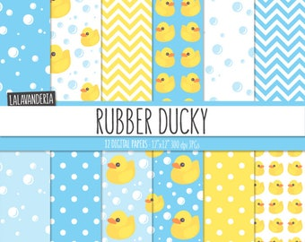 Rubber Duck Digital Paper Pack with Rubber Ducky and Soap Bubbles Patterns. Printable Papers. Baby Backgrounds. Digital Scrapbook Download