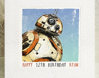 Personalised Birthday Card For fans of Star Wars BB8 Storm Trooper The Force Awakens The Last Jedi Any Name Any Age