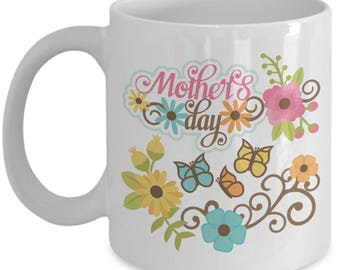 Mother's Day Flowers and Butterflies Mug