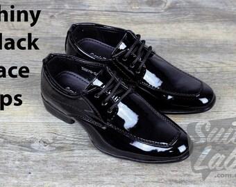 Boys Formal Wedding Black Patent Shiny Lace Up Shoes - Wedding, Church, Formal, Communion Shoes