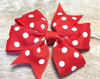 Poppy Rose Red and White Polka Dot Grosgrain Ribbon Bow, Alligator clip, Barrette, 3 inches wide, Hairbow, Girls