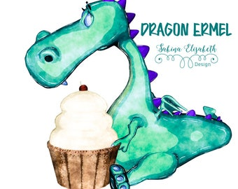 Dragon Ermel 3, blue green, Watercolor Clipart, Baby, Child, Fun, Craft