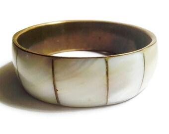 Vintage 70s Mother of Pearl Inlay Brass Bangle Bracelet