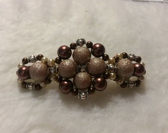 Beaded Barrette, Quad Design, BrownPearl1