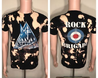 Def Leppard tour shirt // acid bleach washed // Vintage tour tee // faded distressed // adult size small // Rock Brigade // oldschool rock