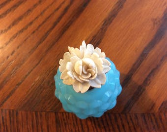 Vintage blue pineapple shape perfume bottle with white rose top