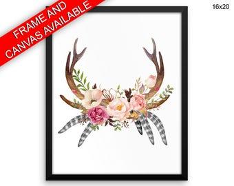 Flowers Canvas Art Horns Printed Flowers  Framed Art Horns boho decor antler flowers last minute tribal print