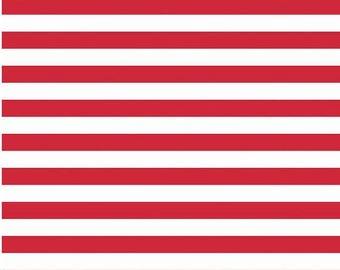 Knit Red and White Stripe Fabric -Riley Blake Fabrics