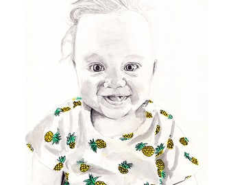 Hand-Drawn Baby portrait, Gift idea Baby shower