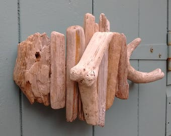 Driftwood fish made from driftwood from Solent beaches.