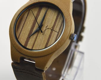 Global Brand - Fortune Forty Six - 'The Soul Searcher' 4.5cm Dial - Natural Bamboo wooden watch