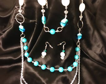 Multi-chain silver and blue jewelry set
