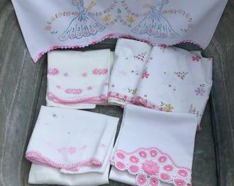 Mixed Lot Standard Pillowcases Stevens Cotton Muslin Southern Belles Pink Crochet Edge Single & Pillowcase Sets