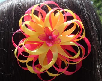 Pink Yellow Flower Hair Bow