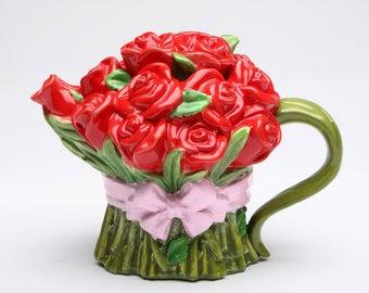 Red Rose Teapot