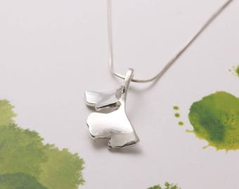 Sterling Silver Necklace / Ginkgo Leaf