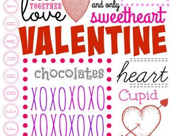 Valentines Day Subway Art/ Valentines Printable/ Heart Subway Art/ Valentines Wall Art/ Valentines Decor/Instant/ Digital Download