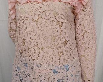 Blouse long sleeves Pink lace