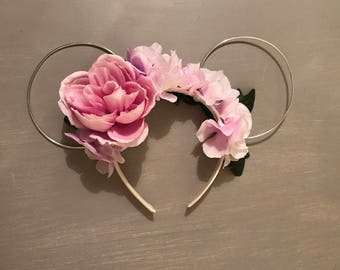 Whimsical Mouse Ears, Wire Mouse Ears, Floral Wire Ears, Floral Mouse Ears, Floral Headband, Wire Minnie Ears