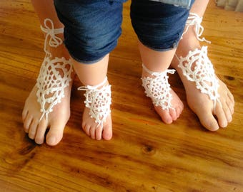 Mother and daughter matching crochet barefoot sandals