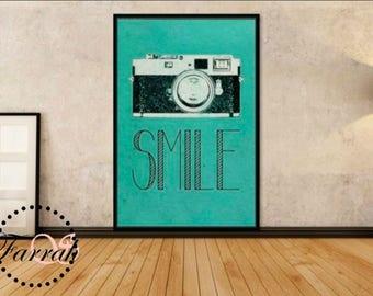 Vintage Smile Camera Print, 4.36 x 6.6 in, downloadable