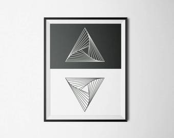 Print: Black and white geometric triangles