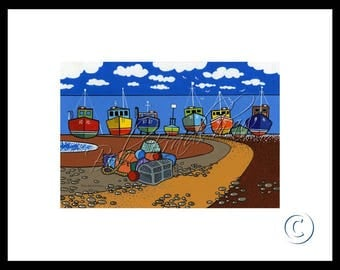 Boats on Beer Beach, Mounted Giclee Print