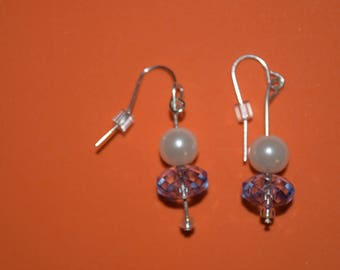 white faux pearls and blue/clear beads